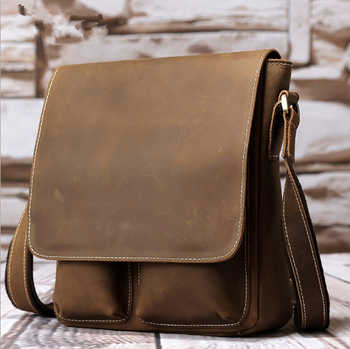 New Arrival England Men\'s Crazy Horse Genuine Leather Vintage Style Small Crossbody Chest Messenger Shoulder Bag Everyday Bag - SALE ITEM - Category 🛒 Luggage & Bags