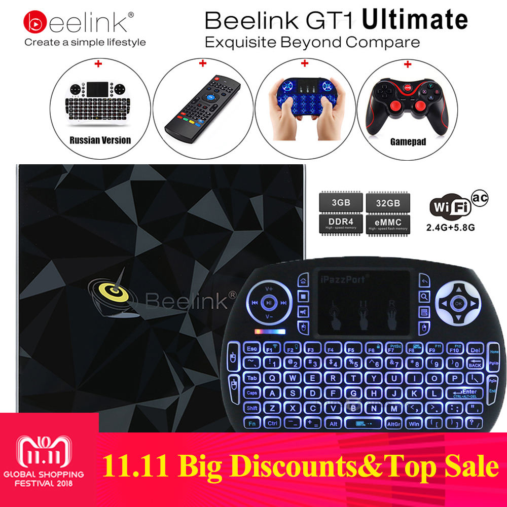 Beelink GT1 Ultimate TV Box 3G 32G Amlogic S912 Octa Core CPU DDR4 2.4G+5.8G Dual WiFi Android 7.1 Set Top Box Media Player X92 x92 a912 ap6255 professional 2g 16g home tv box top s912 octa core cpu wireless entertainment player us plug type