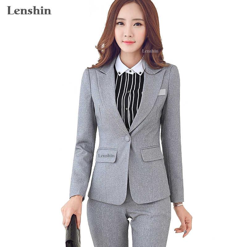 e3dc470d71b Lenshin 2 Piece Set Women Business Formal Office Lady Gray Pants Suits Work  Wear One Button