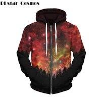 PLstar Cosmos Tops Long sleeved Pullover Hoodies Women Men Zipper Hoodie Space Galaxy Forest Sweatshirt Streetwear Unisex Hoody