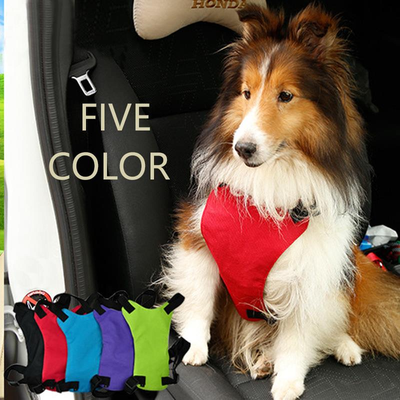 Newest Pet Product Car Seat Belt Harness Collar Car For Small Medium Big Pet Dog Green Red Black Blue S M L Saftly