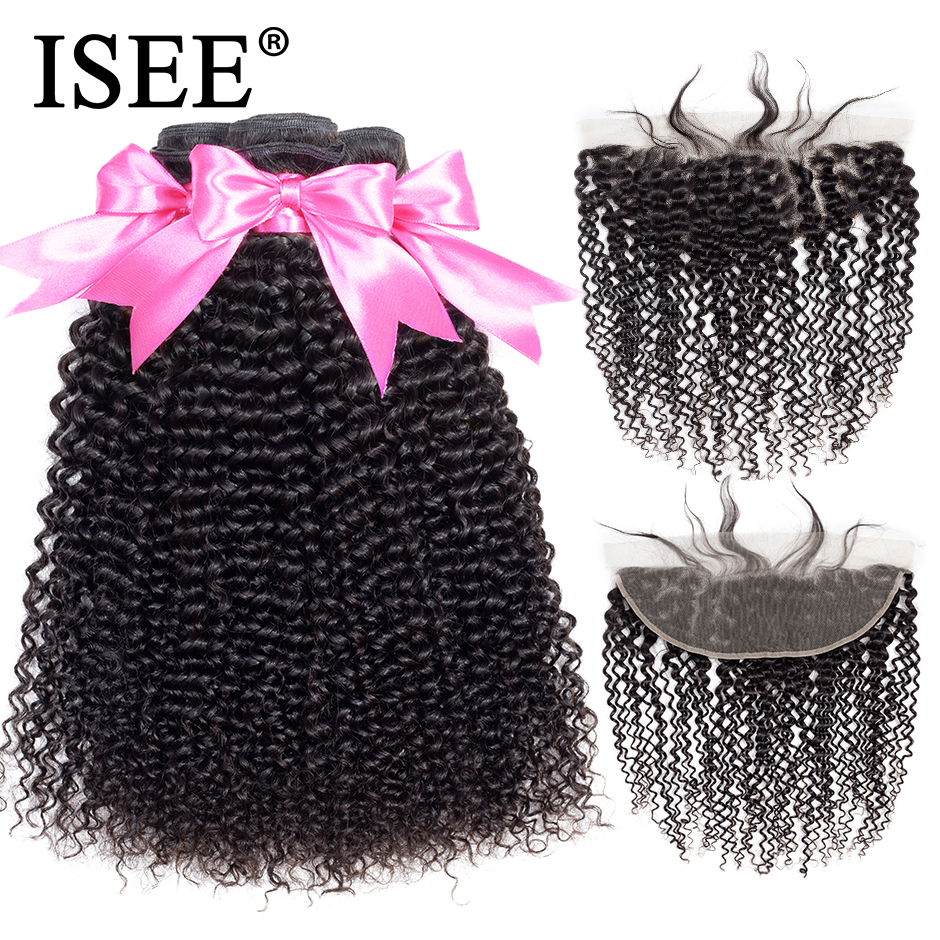 Isee cabelo mongol kinky curly pacotes com frontal 13*4 rendas frontal com pacotes de cabelo humano remy pacotes com frontal