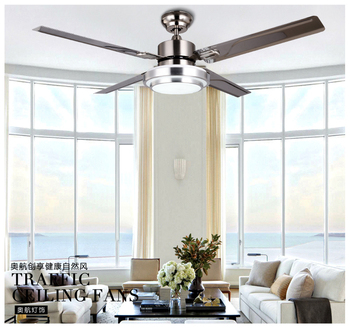 Factory wholesale high quality 52 Inch stainless steel LED Ceiling Fans Creative simplicity 4 leaves led Fan lights