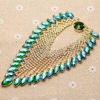 14 3 8cm Shine Green AB Heart Tassel Rhinestone Applique Gold Base Wedding Dress Belt Applique