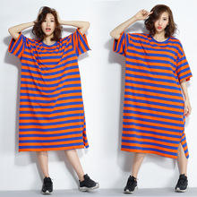 Woman Oversized T Shirt Dress 2019 New Summer Korean Edition Short Sleeve O-neck Striped Casual Loose Maxi Dress Plus Size Dress