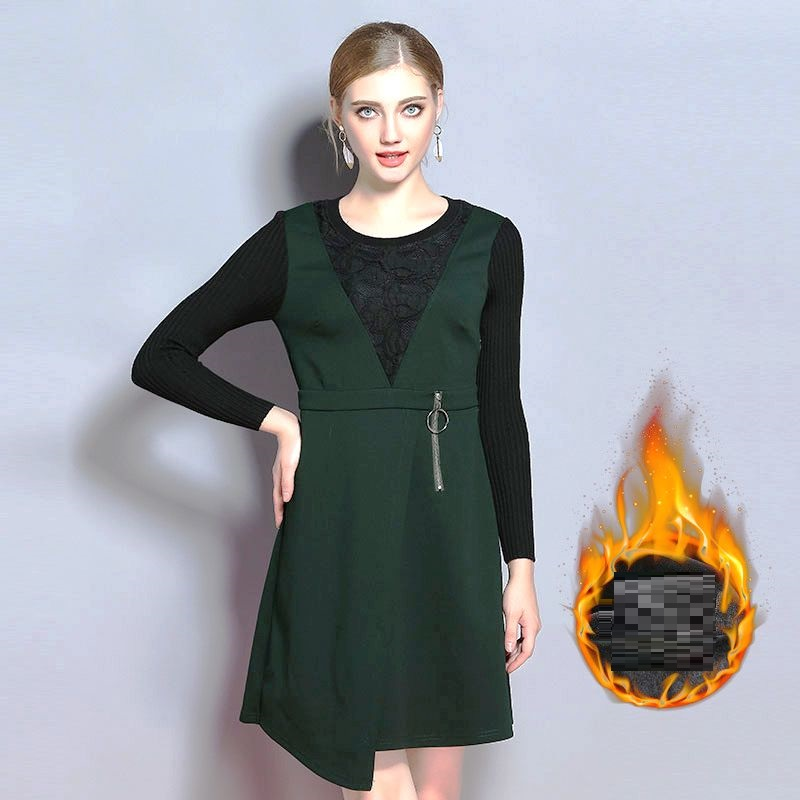 2017Winter women elegant asymmetrical dress Plus Size lace knitted patchwork cultivating contrast color casual vestido XL-XXXXXL contrast panel asymmetrical casual dress long