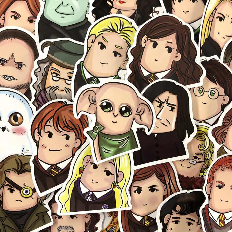 24 piezas estilo de dibujos animados edición Q Harry Hogwarts personaje pegatina PVC impermeable Doodle pegatinas regalos y juguetes para niños