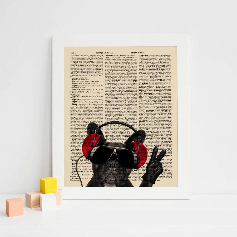 French Bulldog Dictionary Art Paper Vintage Newspaper Wall Hanging Gift for Children Pet Dog Wall Art Kids Room Unframed K103