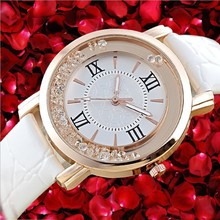 Hot Sale Women Watches Luxury Brand 2016 Fashion PU Leather Quartz Wristwatches Ladies Dress Watches For Women Rhinestone Clock