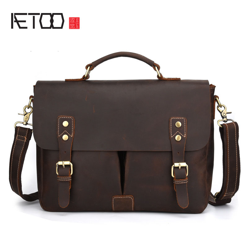 AETOO Crazy horse leather leather mens bag Europe and the United States business retro handbag casual shoulder Messenger bag leAETOO Crazy horse leather leather mens bag Europe and the United States business retro handbag casual shoulder Messenger bag le