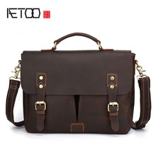 AETOO Crazy horse leather leather men's bag Europe and the United States business retro handbag casual shoulder Messenger bag le aetoo europe and the united states leather men s bag leisure business briefcase first layer of leather cowhide shoulder messenge