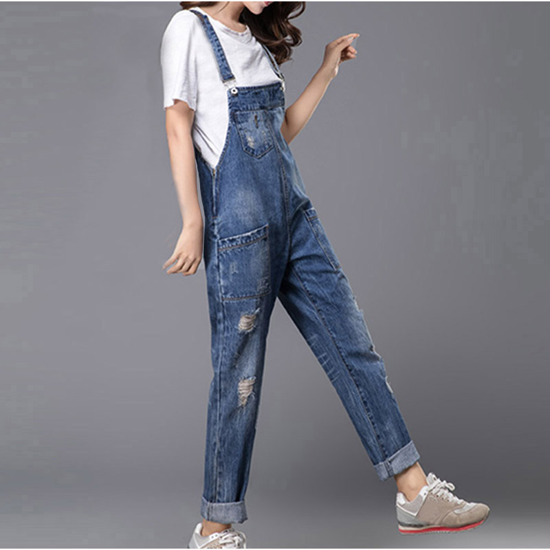 1373240f4662 Plus Size Women Wide Leg Loose Ripped Denim Overalls Europe Jumpsuit  Boyfriend Hole Pockets Jeans Romper S M XL 3XL 5XL 6XL-in Jumpsuits from  Women s ...