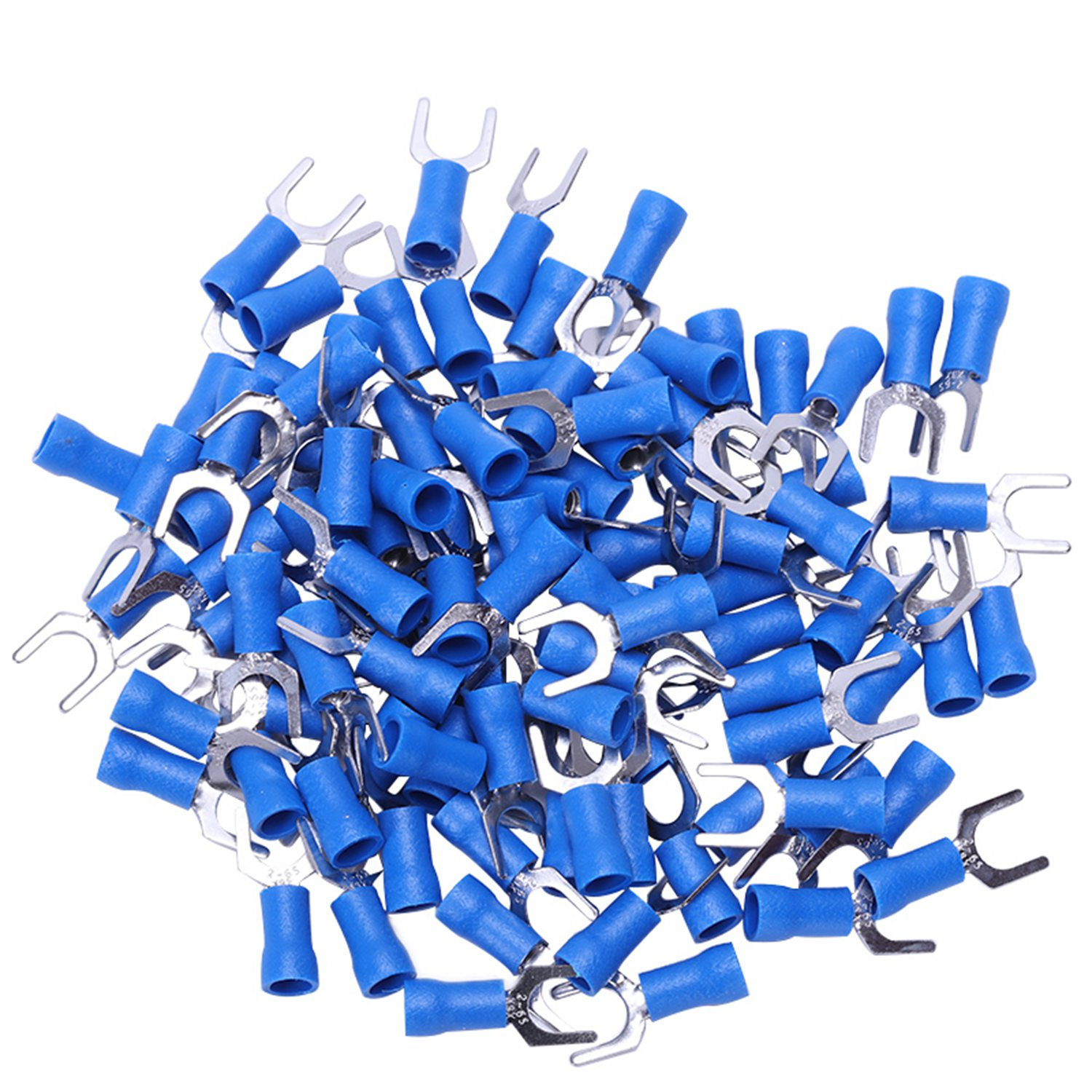 100pc Insulated Fork Spade Wire Connector Electrical Crimp Terminal 14-16AWG 6mm