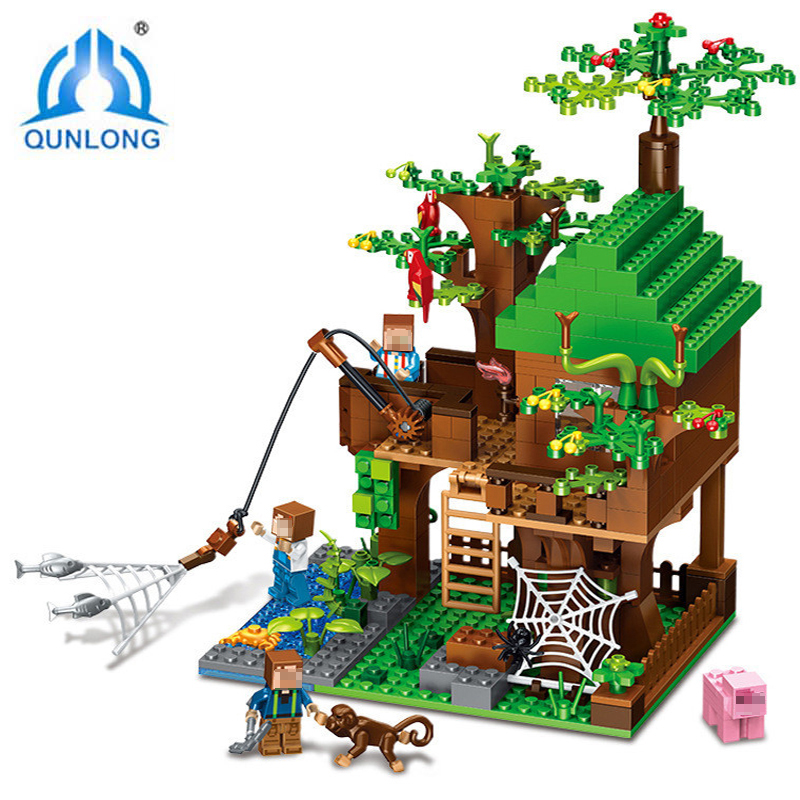 Qunlong Legoings Duploe Minecraft Building Blocks Toys Bobbies Action Figures Fish Tree House City Enlighten Brick Kids Toys minion 2015 despicable me minifigures minecraft building blocks minions toy doll kids toys action 0826