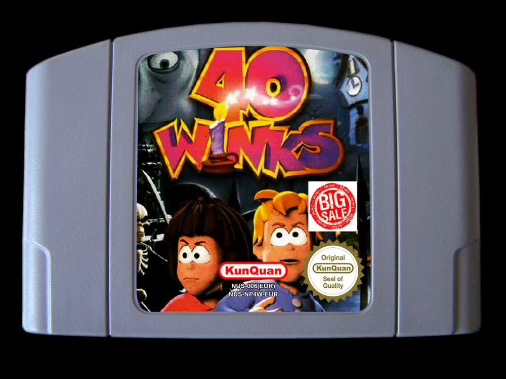 64Bit Games ** 40 Winks ( PAL Version!! English, Spanish, Italian, 3 Languages!) 64 bit games conker s bad fur day english pal version chip save file no need battery