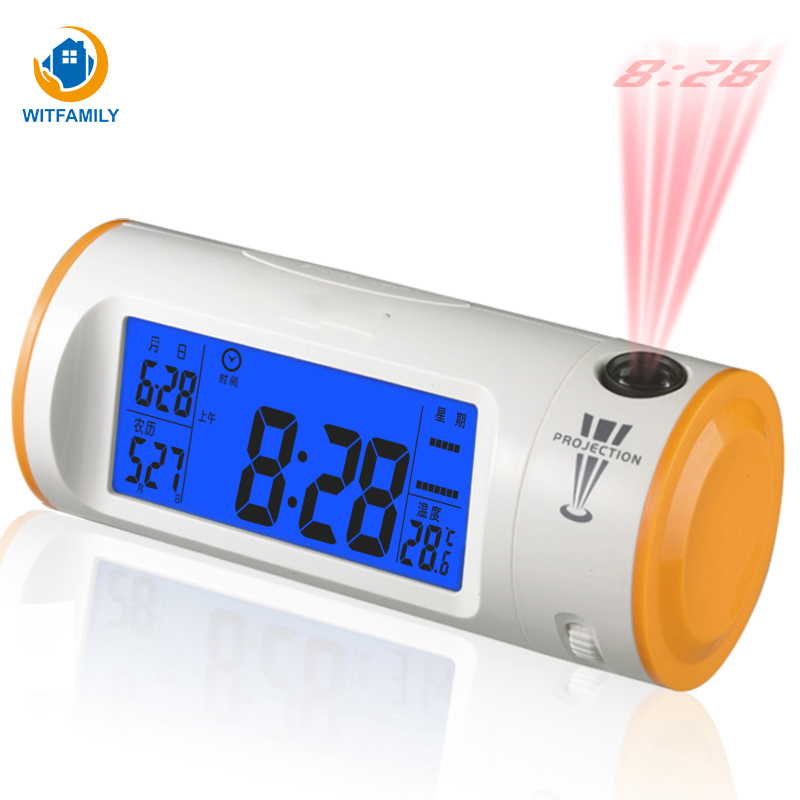 Creative Projection Alarm Clock Acoustic Control Mute LED Luminous Temperature Multifunctional Calendar Electronic Rotate Clock