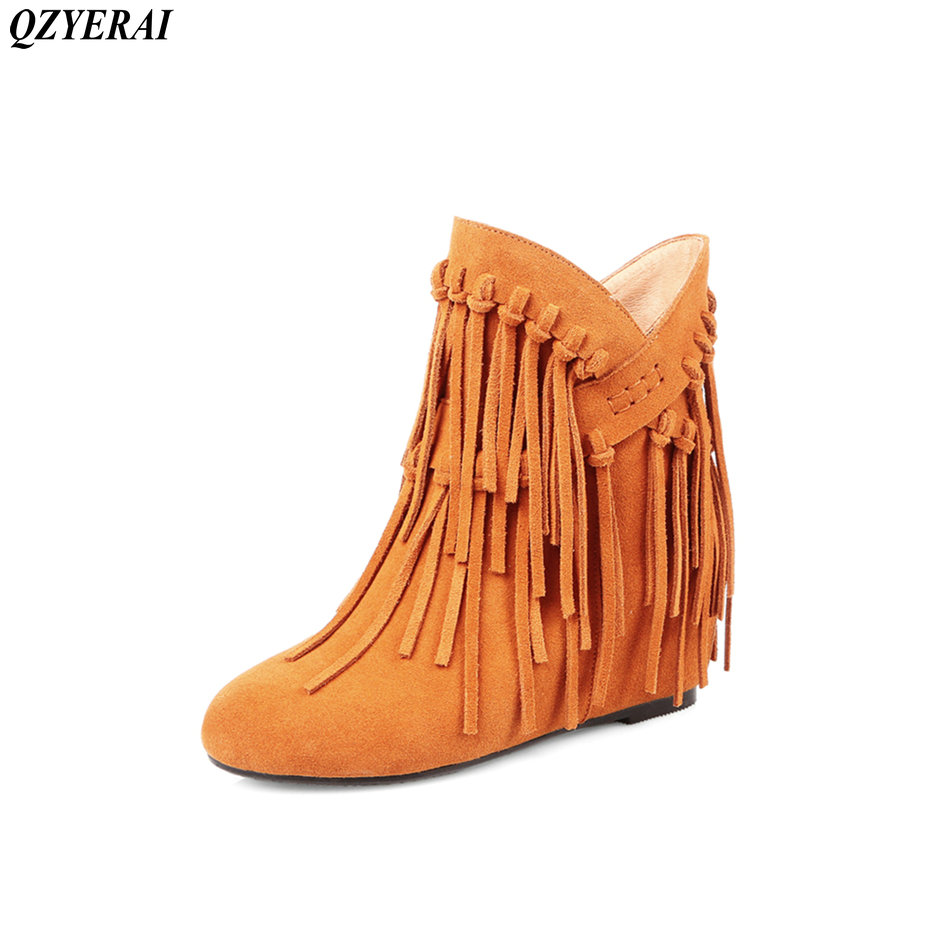 QZYERAI 2018 autumn spring fashion Martin boots stretch cloth fringe boots sexy ankle boots size 34-43 2018 autumn