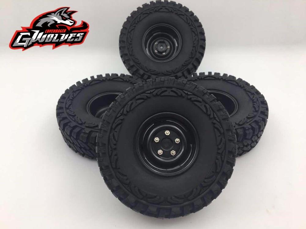 GWOLVES 4Pcs/Set 114MM 1.9in 1/10 Climbing Car Wheel Rim & Tyre Tires RC Car parts Axial SCX10 D90 CC01 TRAXXAS TRX-4 MST CMX 4pcs set high quality car tires set rubber tyre tires