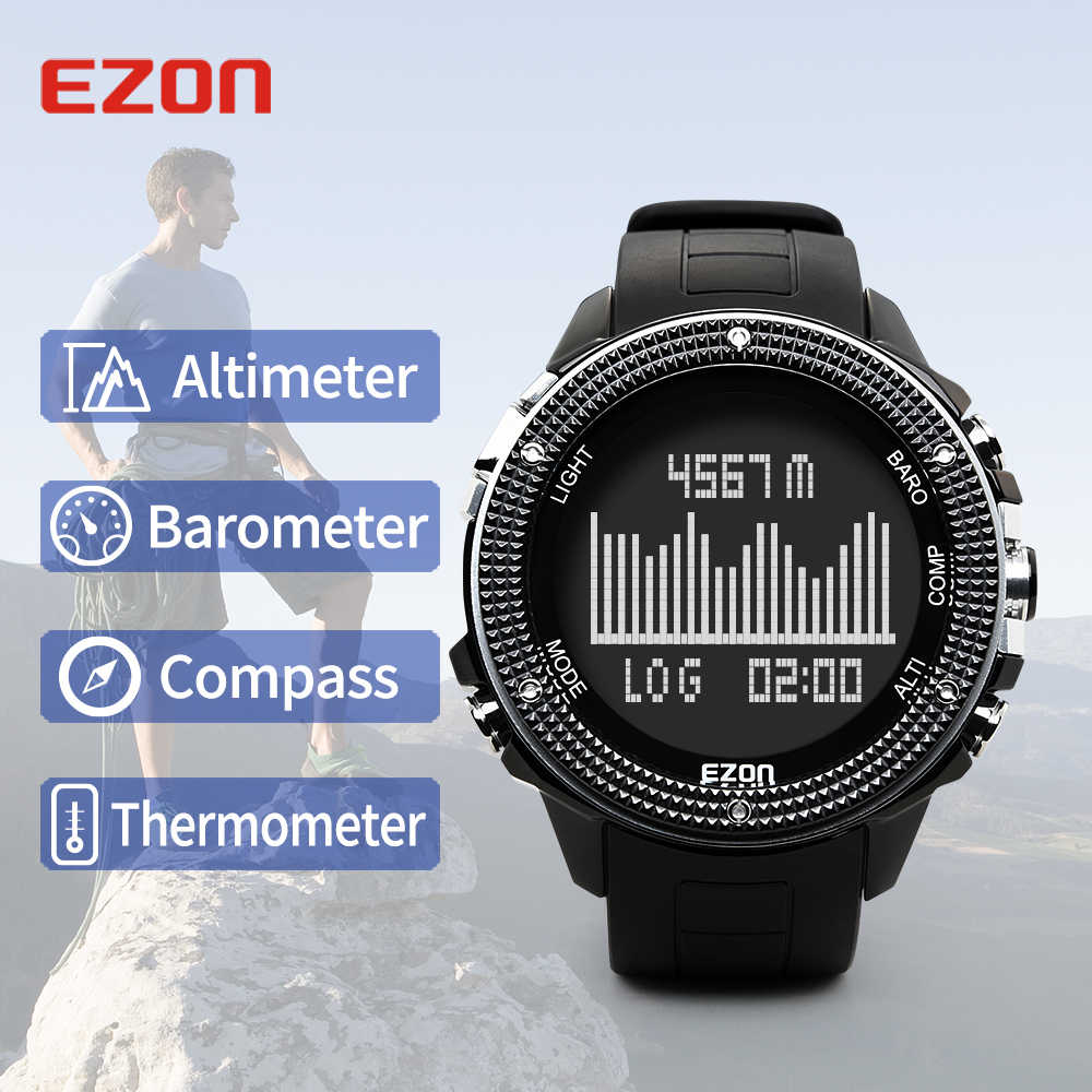 Men's Digital Multifuncti Watch With Altimeter Compass Barometer and Stainless case for Outdoor Hiking 50M Waterproof  EZON H501
