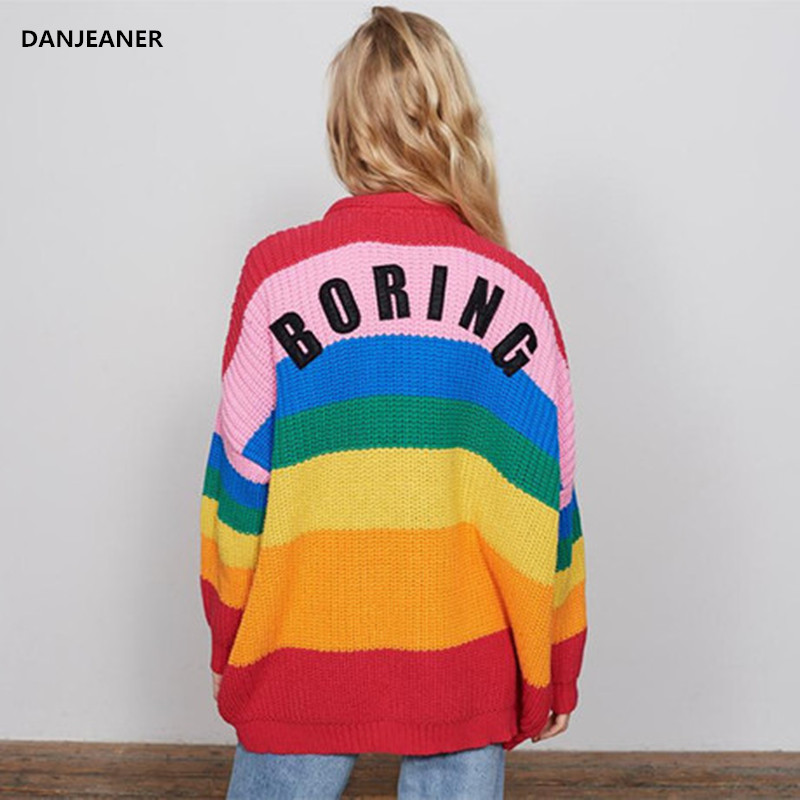 Danjeaner V Neck Single Breasted Knitted Cardigans Women Harajuku Rainbow Stripes Letter Long Sleeve Sweaters Streetwear Jumpers