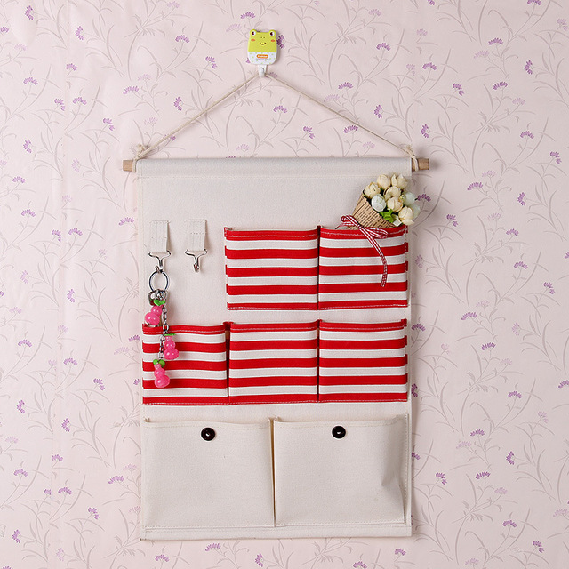 Contracted Style Wall Door Storage Bags Cotton Fabric Multilayer Hanging Bag Hang Bathroom