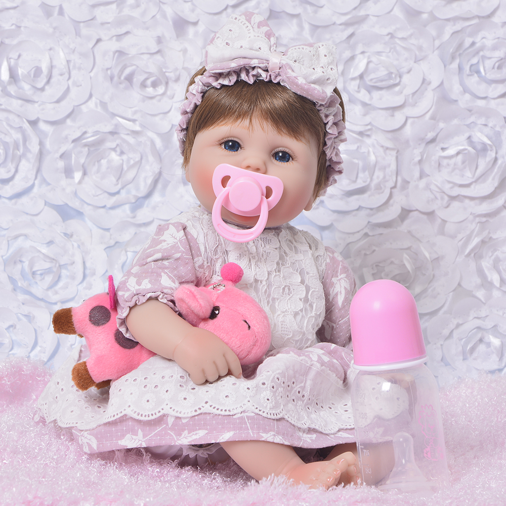 KEIUMI 43 cm Silicone Reborn Baby Doll Kids Playmates Gift For Girl DIY Toy Realistic 17