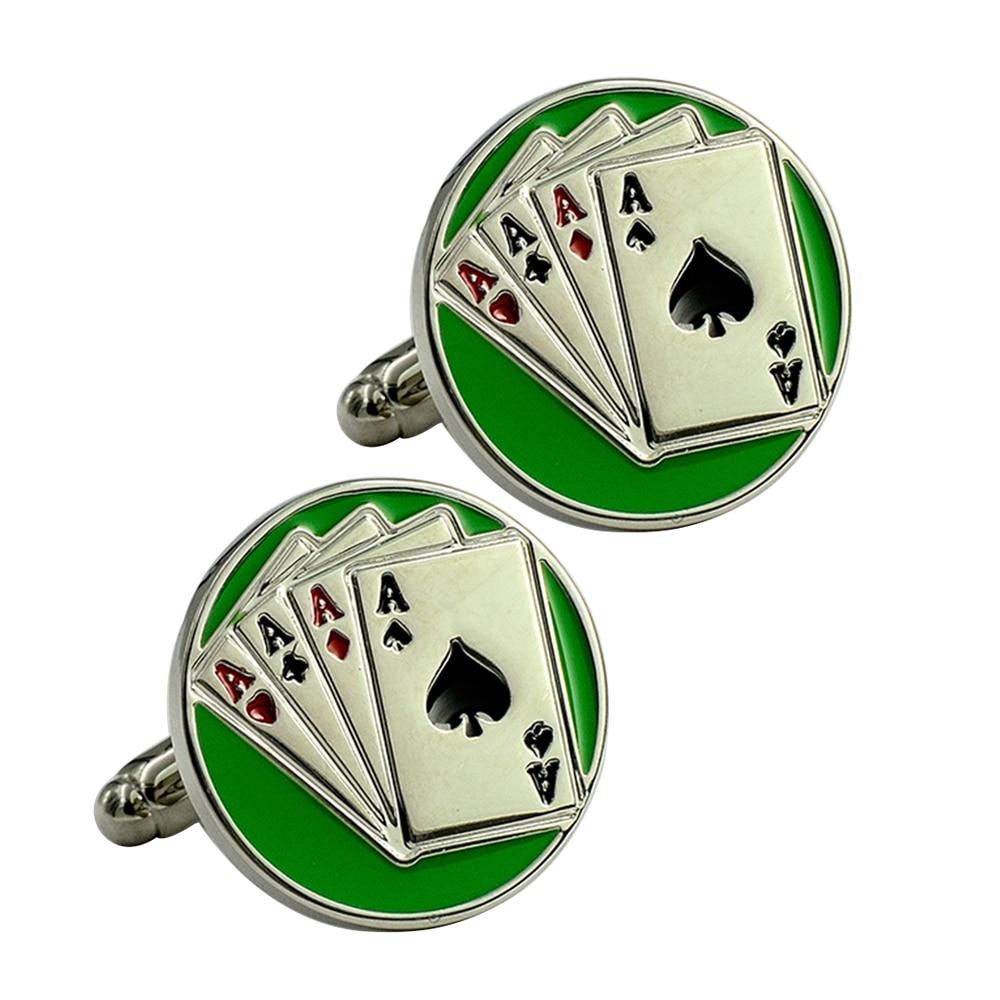 Round green playing card 4  A cufflinks enamel bullet cufflinks brass creative lucky cufflinks