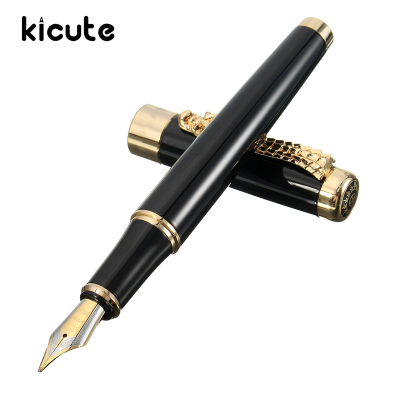 Kicute Classical Design Deluxe Black And Golden Dragon Clip Fountain Pen Medium Nib Smoothly Writing Roller Pen School Office golden goose deluxe brand повседневные брюки