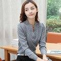 Moda clássico Listrado Senhora Do Escritório Camisas BIG SIZE 4XL V-pescoço Novo Modelo de Manga Comprida Encabeça 2016 Outono Mulheres Blusas de Lazer