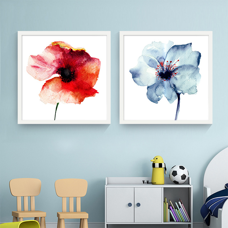 Modern watercolor minimalist alpine orchid flowers poster for The art of minimalist living