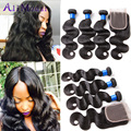 Malaysian Body Wave with Closure 7A Malaysian Virgin Hair with Closure Body Wave with Closure Human Hair Bundles With Closure