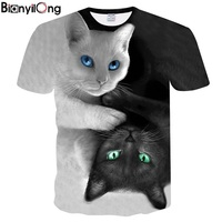 BIANYILONG 2018 NEW T Shirt Men Women 3d Print Meow Black White Cat Hip Hop Cartoon