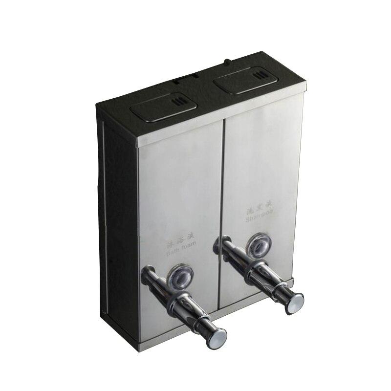 Double distributeur de savon en acier inoxydable savon shampooing distributeur liquide savon conteneur salle de bains distributeur de savon mur Q0124 1500