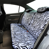 LDDCZENGHUITEC Zebra stripes white Car Seat Covers Set Universal Fit Most Cars Covers with Tire Track Detail Styling Car Seat