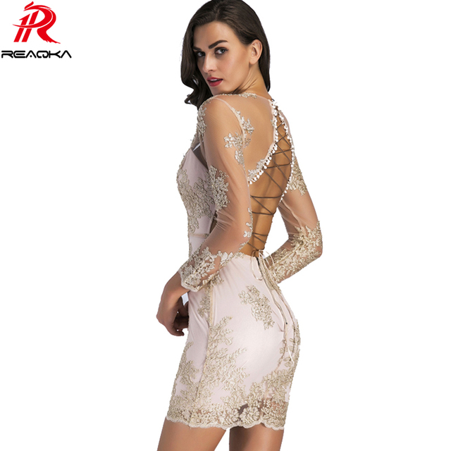 Sexy Women Mesh Sequins Summer Dress Lace Deep V Neck Backless Bandage Hollow Elegant Sundress Club Party Dresses Vestidos 2018