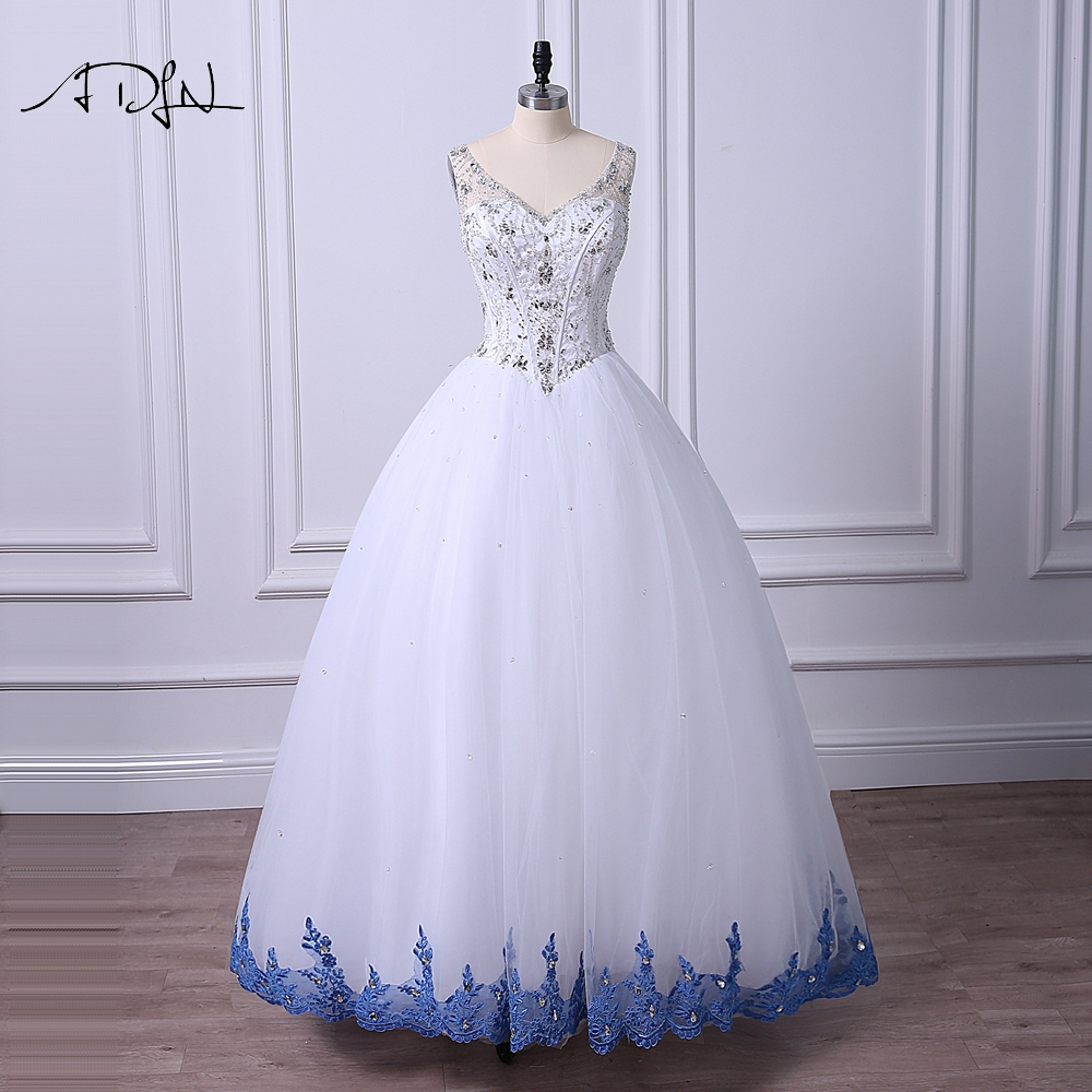 ADLN White and Blue Quinceanera Gown vestidos de 15 anos High Quality V-neck Crystals Open Back Ball Gown Dress-for-15-years