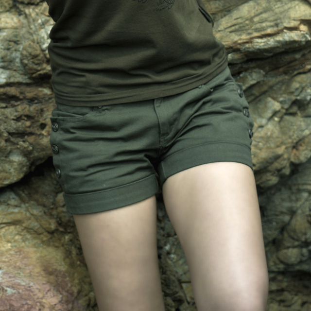 e593607c0 US $36.49 |Green Army Green military female shorts comfortable all match  solid color short design young girl school wear summer-in Pants & Capris  from ...