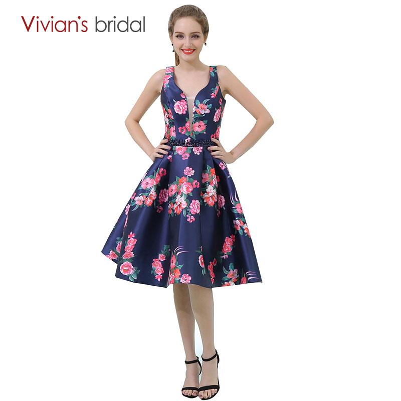 vestido de festa curto Short A Line   Cocktail     Dresses   Floral Print Deep V Neck Party   Dress   Backless Vivian's Bridal