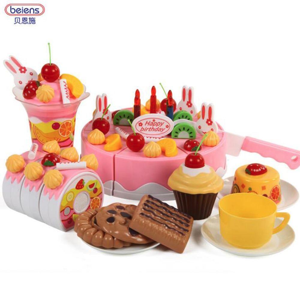 Kids DIY Birthday Party Fruit Cake Playset With Utensils Candles