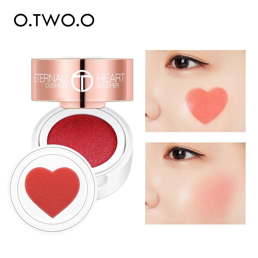 O.TWO.O coussin d'air fard à joues pliant en forme de coeur miroitant Blush Rouge 4 couleurs facile à porter maquillage naturel du Contour du visage