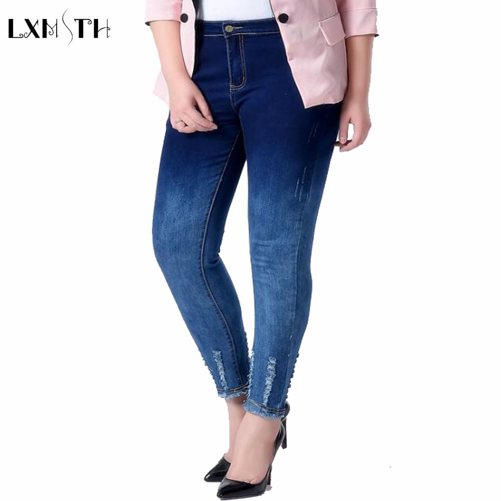 Casual Skinny jeans Woman 2018 Plus Size Ripped jeans For Women Slim High Waist Gradient Female Denim Trousers Tassels Pants new embroidered flower skinny stretch high waist jeans without ripped woman floral denim pants trousers for women jeans j18 z35