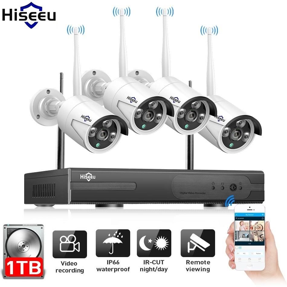 Hiseeu Wireless CCTV camera system 1080P NVR wifi 4CH 720P waterproof IP camera outdoor IR cctv home security system kit P2P