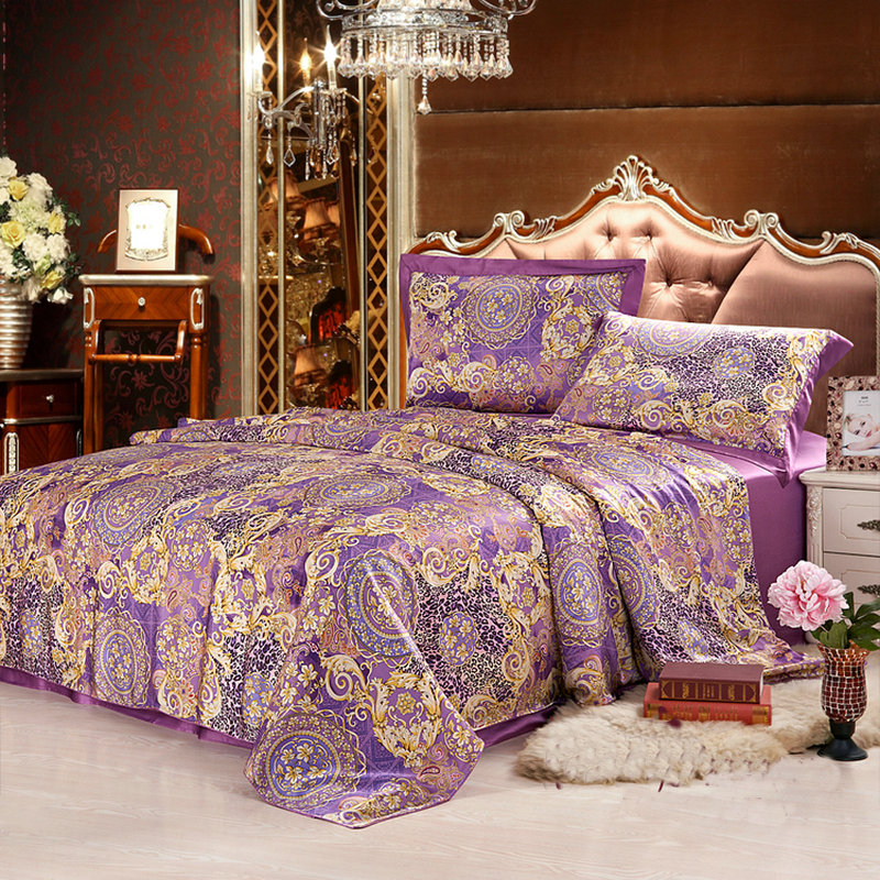 Printed 4 Pcs Seamless Pure Silk Bedding Set Silk Duvet Cover Flat Sheet  And Pillowcase In Bedding Sets From Home U0026 Garden On Aliexpress.com |  Alibaba Group