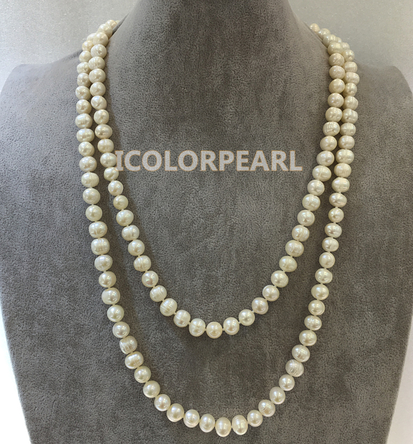 130cm  9-10mm Potato Shaped White Real Natural Freshwater Pearl Jewelry Sweater Necklace.