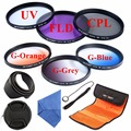 62mm CPL UV FLD Filter Kit Graduated Color Lens Filter Set For Canon Nikon D5100 D3200 D3100 18-55 200-400 DSLR lens Orange Blue