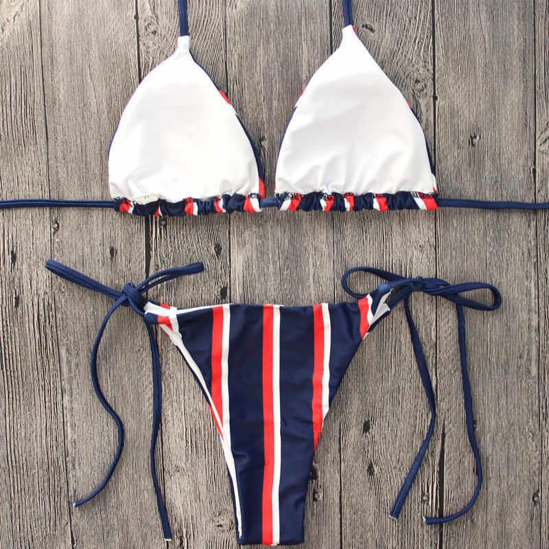 2018 nouveau femmes push-up taille basse rayé Bikini ensemble rembourré Bandage maillot de bain maillots de bain maillots de bain