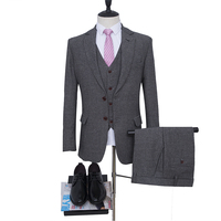 NA62 Tweed Suits Wool Herringbone 2 buttons Mens Suit Formal Wedding Suits Thick Material Customized Size Man Suits