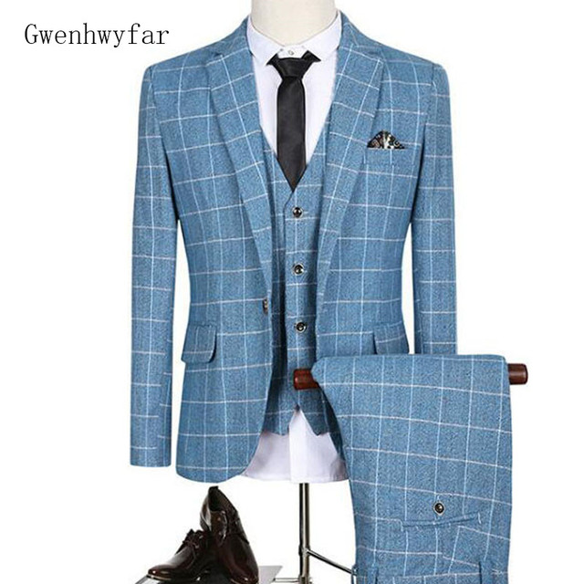 Gwenhwyfar 2018 Mens Suits 3Pcs For Wedding Prom Blue Plaid Groom ...