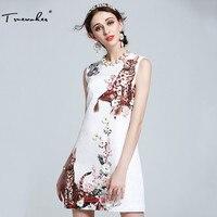 Truevoker Summer Designer Dress Women S High Quality Flower Appliques Diamond Cat Printed White Embossed A