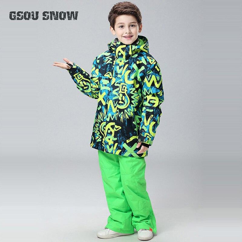 GSOU SNOW le nouveau hiver enfants garçons Ski costume chaud vestes + pantalon garçons vêtements ensemble respirant coupe-vent Super chaud manteau